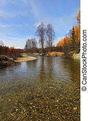 Pure mountain river clear autumn day