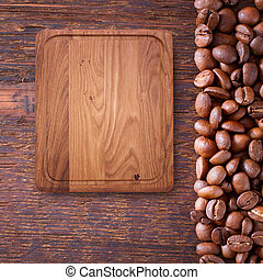 Pure notebook for menu, recipe record on wooden table top ...