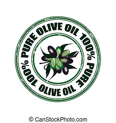 pure olive oil stamp - pure olive oil grunge stamp with on...