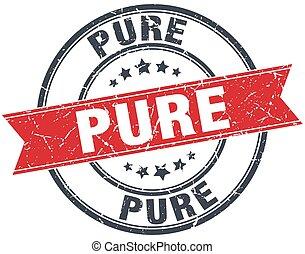 pure red round grunge vintage ribbon stamp
