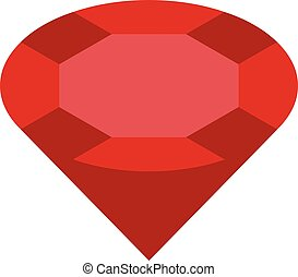 Pure red ruby icon, isometric style