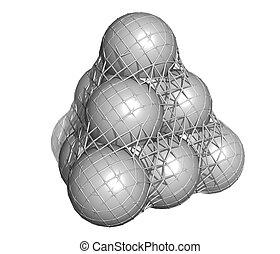 Pure silicon (Si, silicium), crystal structure. Main...