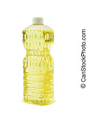 Pure Vegetable Oil; Angle View - Bottle of pure vegetable ...
