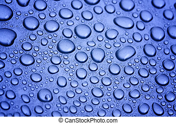Pure water bubbles on blue