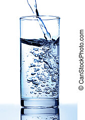 Pure water is poured in a glass