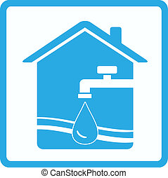water sign with tap, house and wave - pure water sign with...