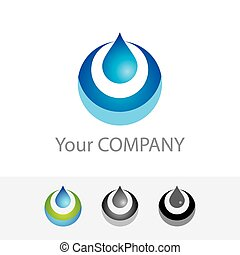 Template vector corporate logo - Pure Water. Color options black and white version. Just place your own brand name.