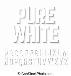 Pure White alphabet shadow