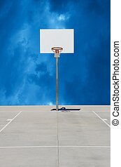 Pure White Basketball Standard or Backboard with Cloudy ...