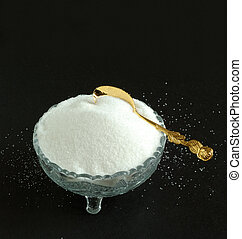 Pure White Granulated Sugar on a Black Background