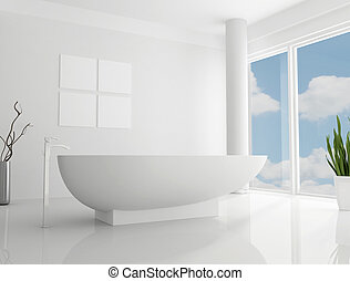 pure white minimalist bathroomthe sky on back ground is a my photo