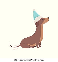 Purebred brown dachshund dog in a blue Santa hat vector Illustration on a white background
