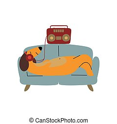 Purebred Brown Dachshund Dog Lying on Sofa and Listening Music with Headphones, Funny Playful Pet Animal Cartoon Character Vector Illustration