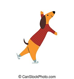 Purebred Brown Dachshund Dog Wearing Knitted Sweater Ice Skating, Funny Playful Pet Animal Cartoon Character Vector Illustration
