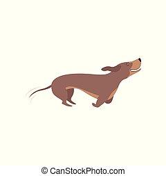 purebred, cachorro marrom, ilustração, executando, vetorial, fundo, branca, bassê