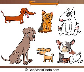 purebred cartoon dog characters set