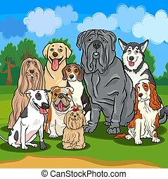 purebred, chiens, illustration, dessin animé