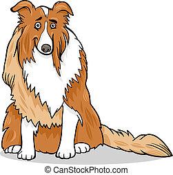 purebred, collie hond, illustratie, spotprent
