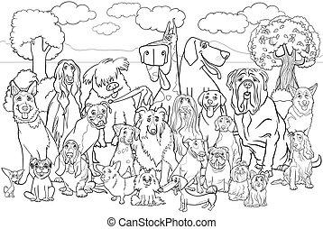 purebred, colorido, perros, libro