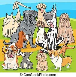 purebred, csoport, kutyák, betűk, karikatúra