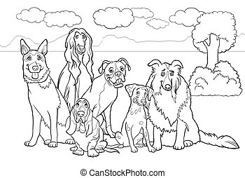 purebred dogs cartoon for coloring book - Black and White...