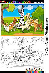 purebred dogs cartoon for coloring book - Cartoon...
