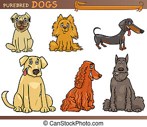 Cartoon Comic Illustration of Canine Breeds or Purebred Dogs Set