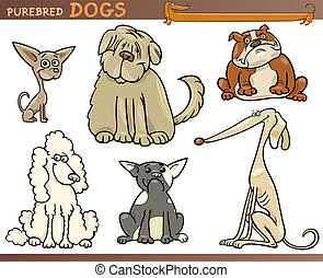 purebred dogs cartoon set - Cartoon Comic Illustration of...