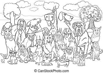 Black and White Cartoon Illustration of Purebred Dogs Large Group against Park Scene Coloring Book