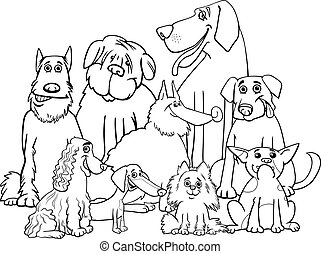 Black and White Cartoon Illustration of Purebred Dogs Animal Characters Group Coloring Book