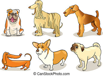 purebred dogs - cartoon illustration of six purebred dogs