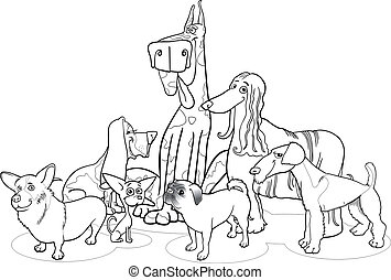 Black and White Cartoon Illustration of Cute Purebred Dogs or Puppies Group for Coloring Book