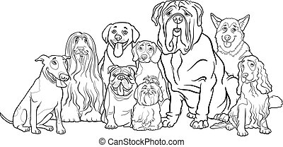 purebred dogs group cartoon for coloring - Black and White...