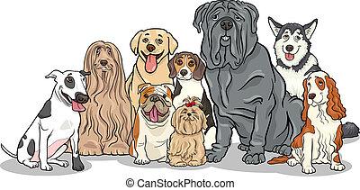purebred, groep, honden, illustratie, spotprent