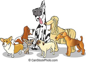 purebred, grupo, perros, ilustración, caricatura
