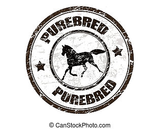 Purebred horse stamp - Grunge rubber stamp with horse...