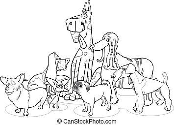 purebred, kleuren, groep, spotprent, honden