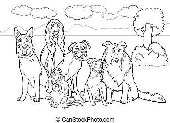purebred, kleuren, spotprent, boek, honden