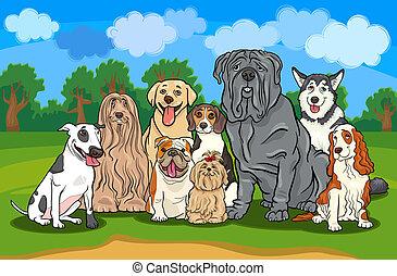 purebred, perros, grupo, caricatura, ilustración