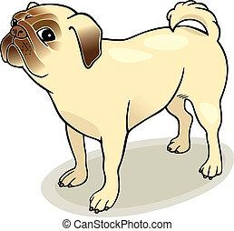 purebred pug - Illustration of purebred pug dog