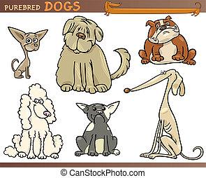 purebred, set, honden, spotprent