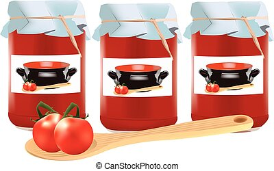 pureed tomato sauce - Tomato sauce in glass jars on white...