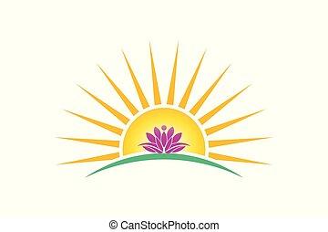 purezza, logotipo, pianta, loto, persona, concetto, alba, vettore, image.