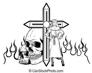 purgatory, 修道女, 火, 漫画, 特徴, ベクトル