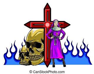 purgatory, 火, ベクトル, 修道女, 特徴, 漫画