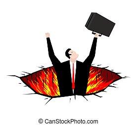 purgatory, 火, hell., ビジネスマン, rift., 穴, ピット
