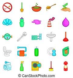Purge icons set, cartoon style - Purge icons set. Cartoon...