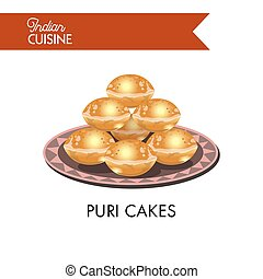 Puri cakes on plate with ornament isolated illustration