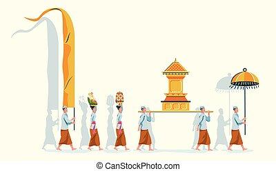 purificación, bali, desfile, hindú