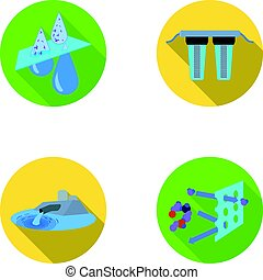 Purification, water, filter, filtration .Water filtration system set collection icons in flat style vector symbol stock illustration web.